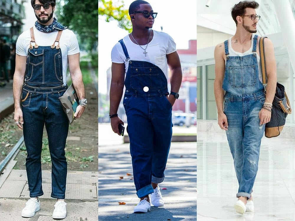 Men's overalls and canvas shoes