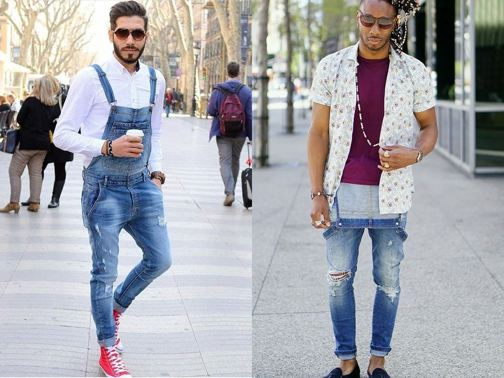 Men's overalls with white shirt