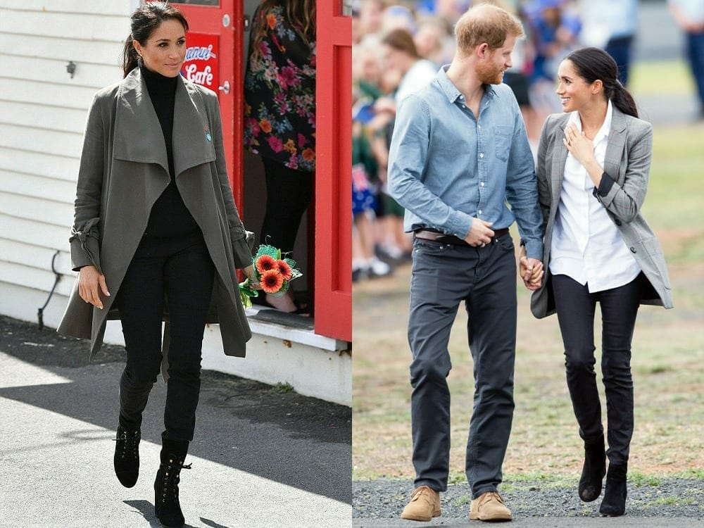 Meghan Markle wearing Outland Denim sustainable jeans