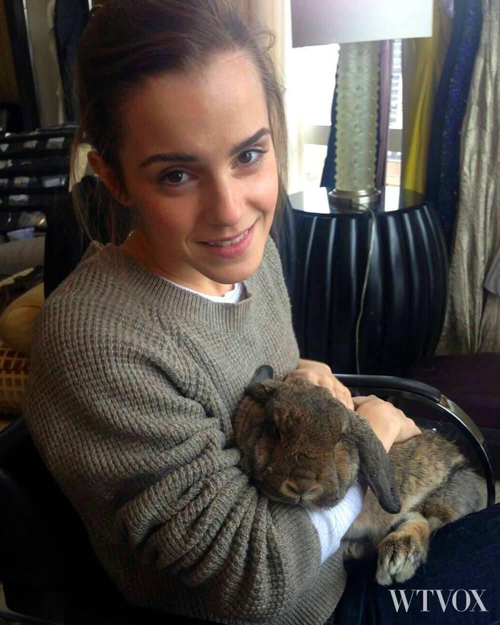 Emma Watson vegan holding animal