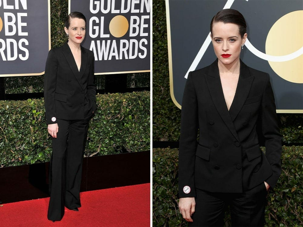 Claire Foy sustainable fashion on the red carpet golden globe awards 2018