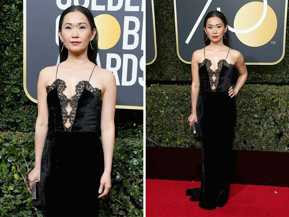 Hong Chau sustainable fashion on the red carpet golden globe awards 2018