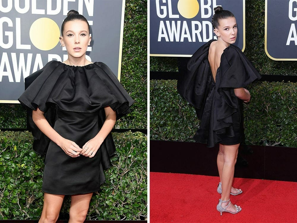Millie Bobby Brown sustainable fashion on the red carpet golden globe awards 2018
