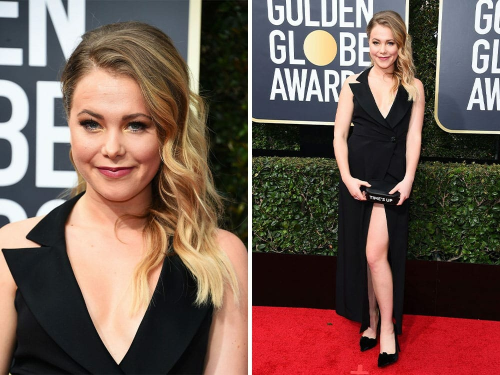 Poppy Jamie sustainable fashion on the red carpet golden globe awards 2018