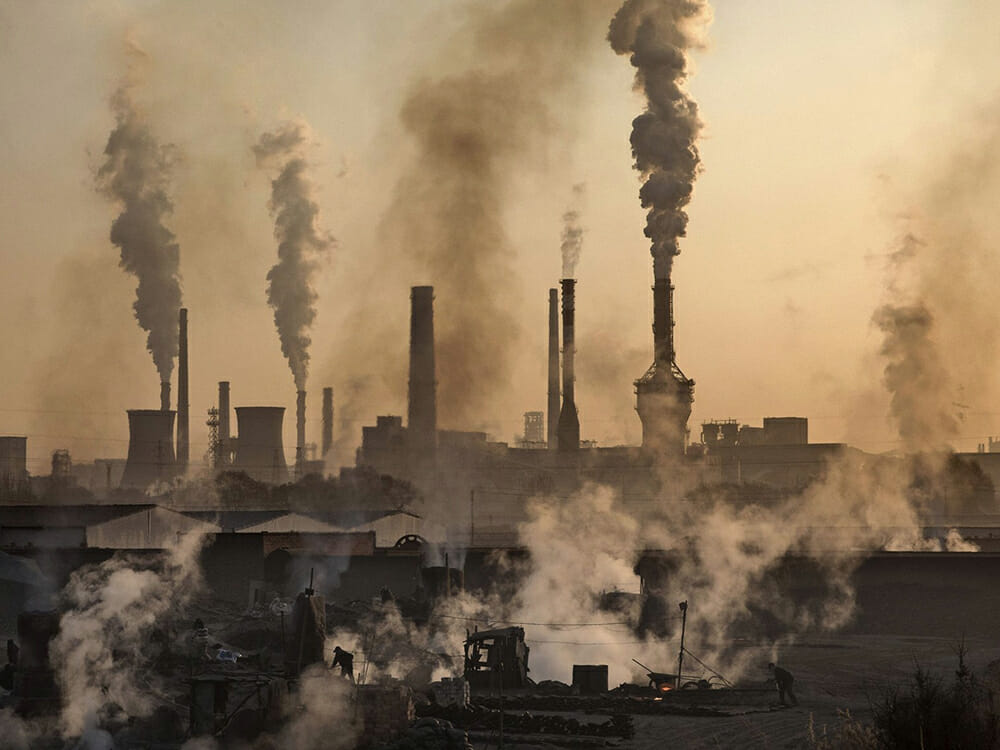China's pollution, factories with smoke