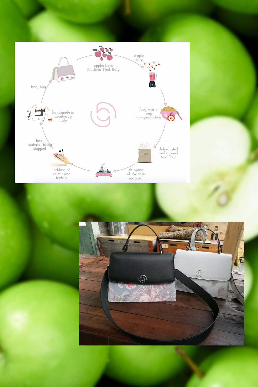 Happy Genie apple leather vegan bags