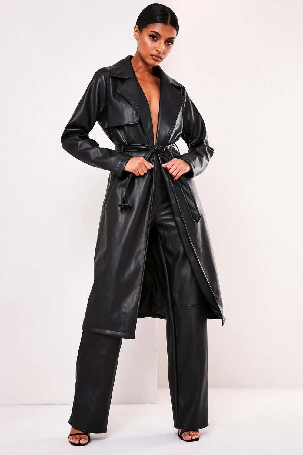 Each X Other Black Vegan Leather Trench Coat
