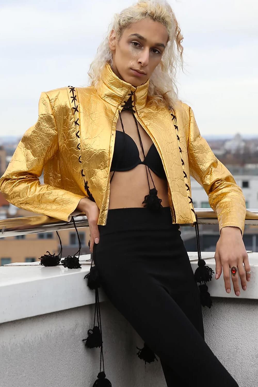 Sarah Regensburger Golden Queen Pineapple Leather Jacket