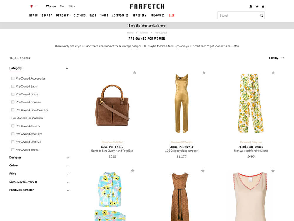 Farfetch Pre-Owned online vintage clothing store