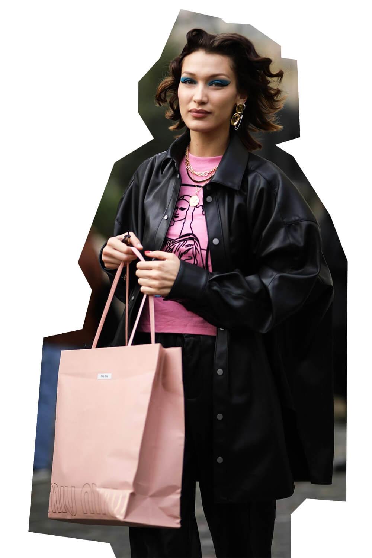 Bella Hadid wearing Fenty's vegan leather jacket