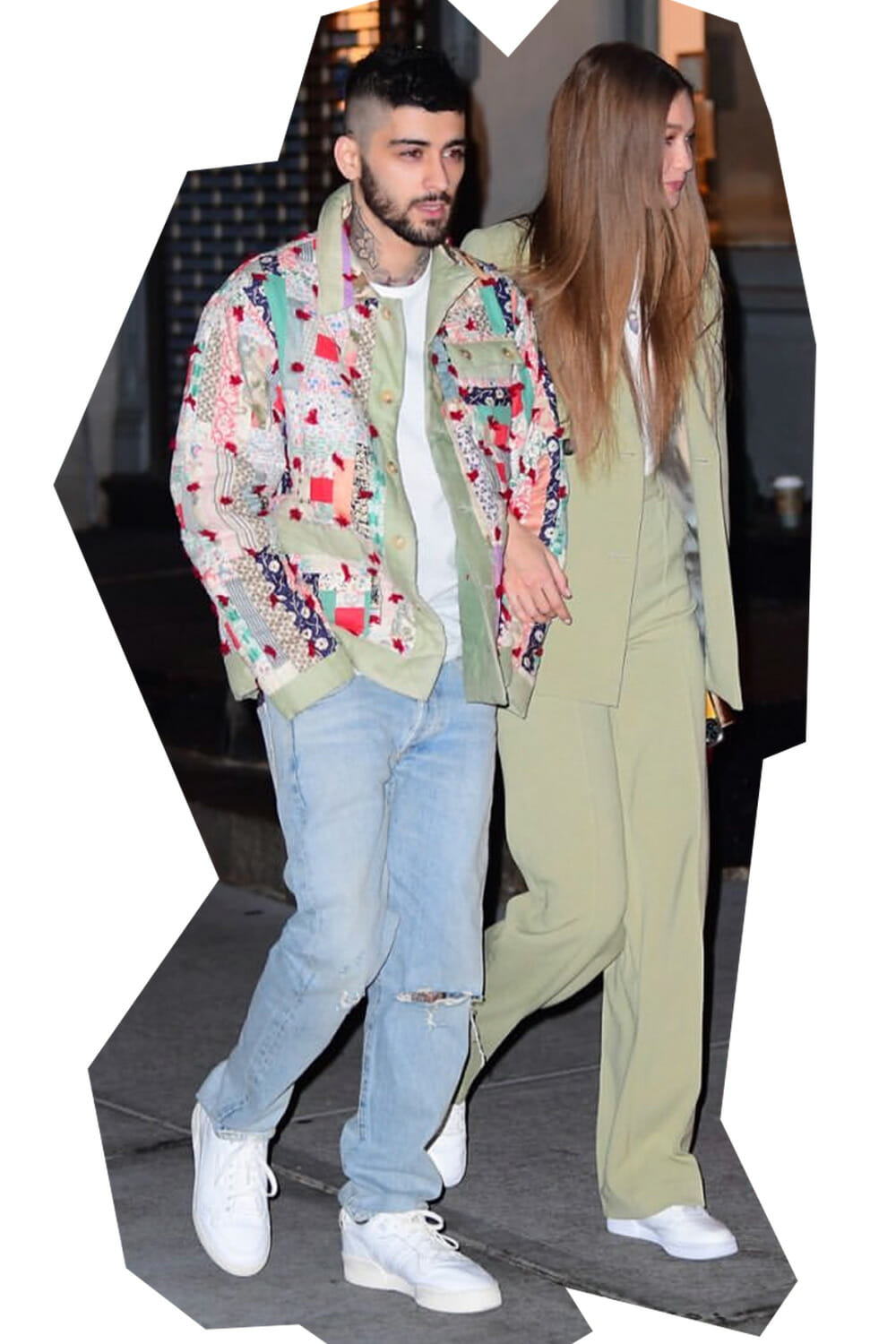 Zayn Malik wearing BODE upcycled jacket with Gigi Hadid