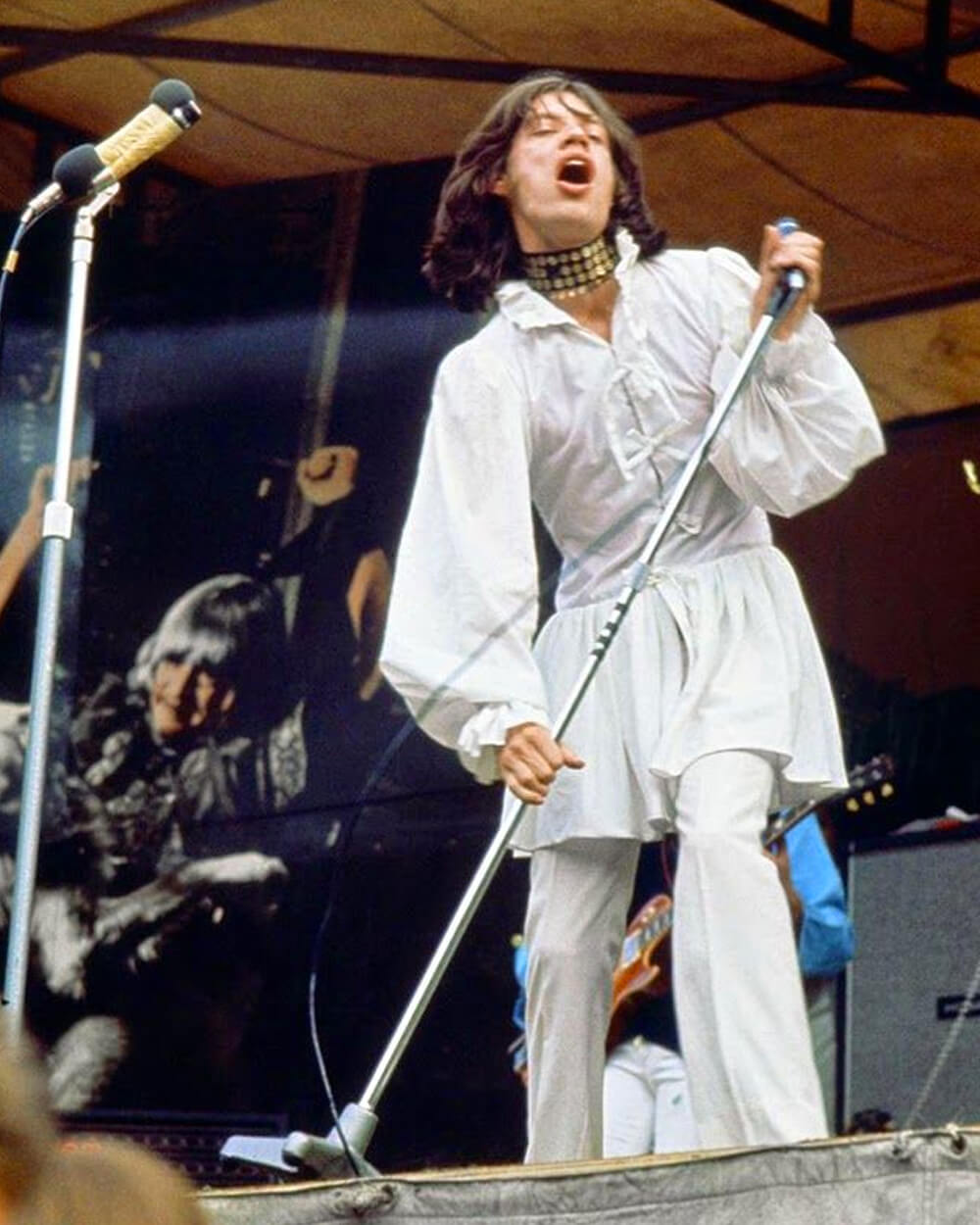Mick Jagger 'man's dress' by Michael Fish London's Hyde Park in 1969