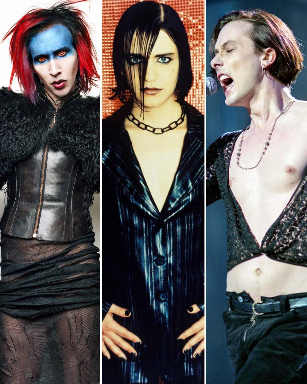 Brett Anderson of the British band Suede, Marilyn Manson and the band Placebo Androgynous Fashion