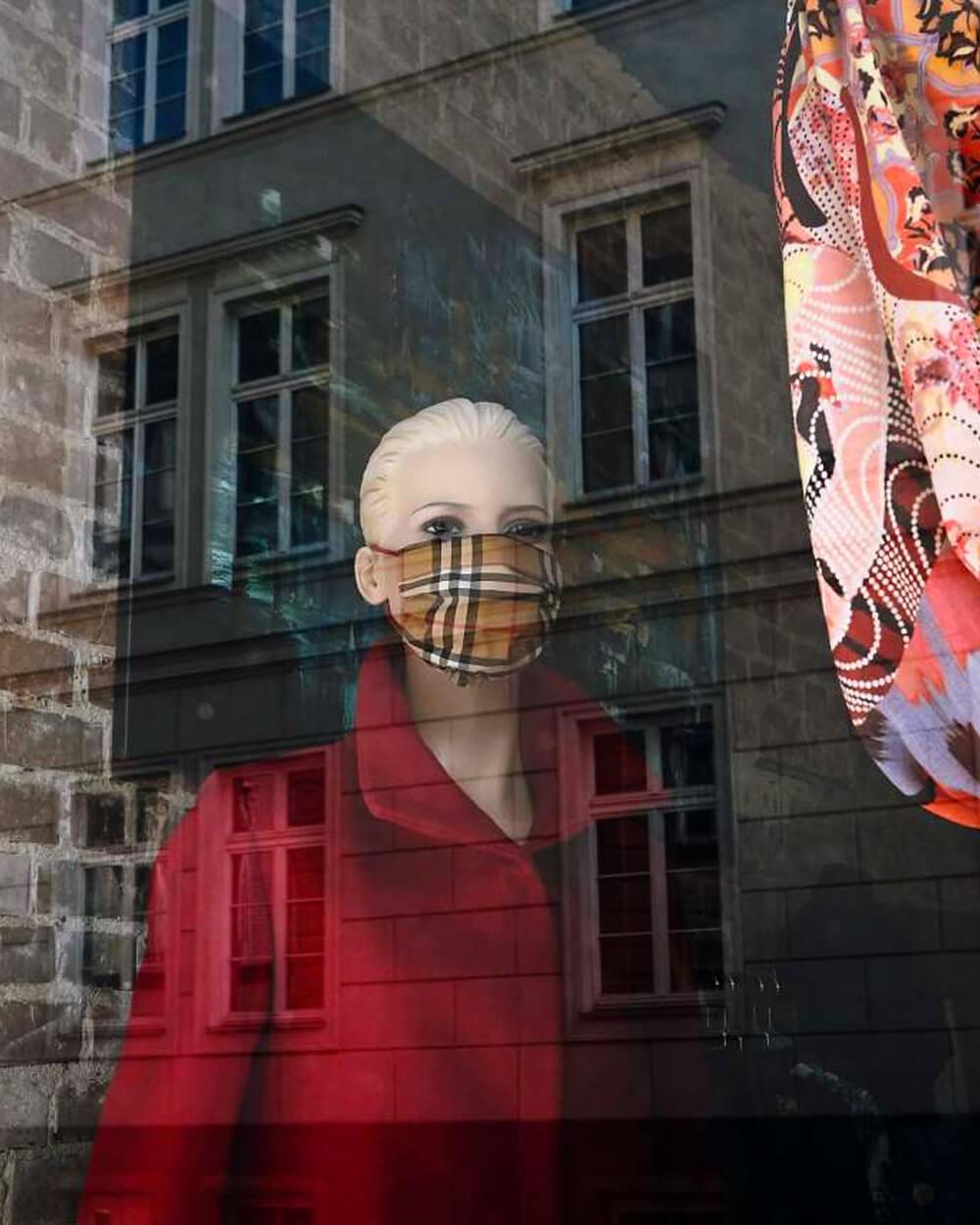 Covid 19 uk fashion impact - Burberry mask