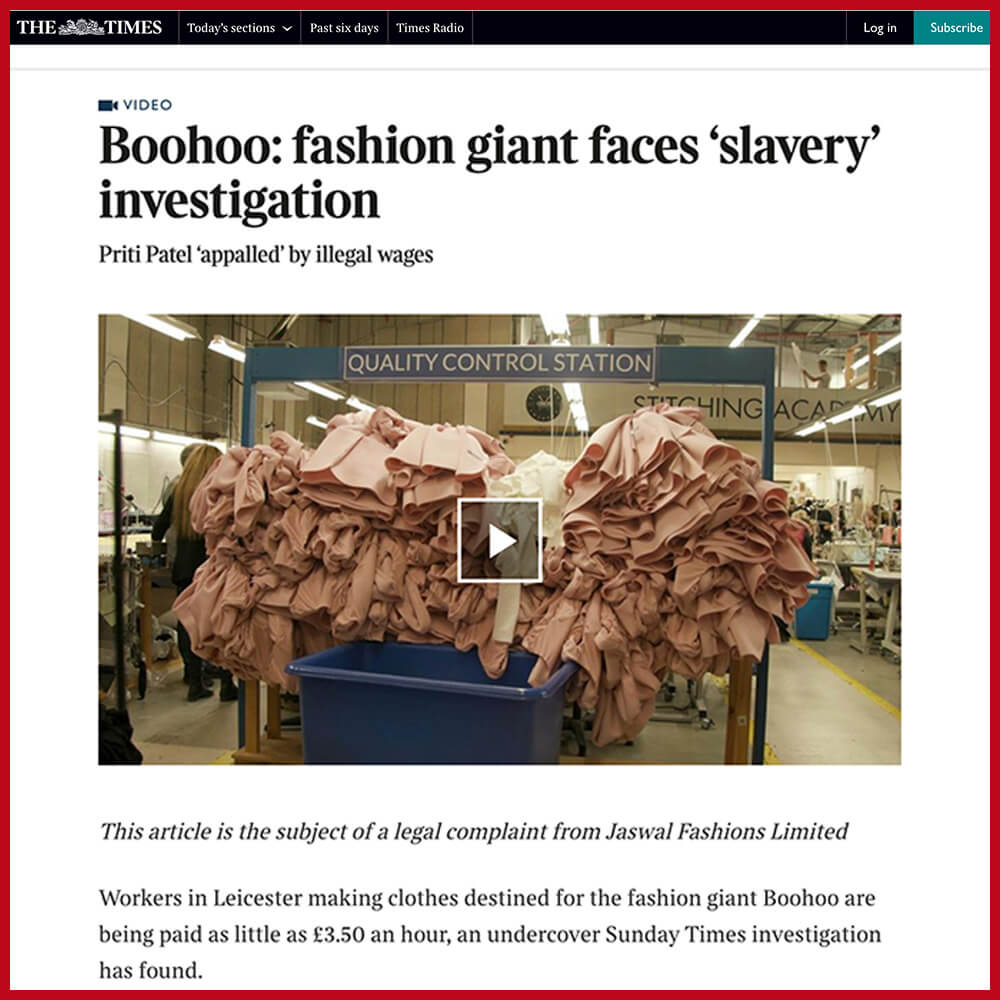 Modern slavery - fast fashion giant Boohoo is investigated by the NCA