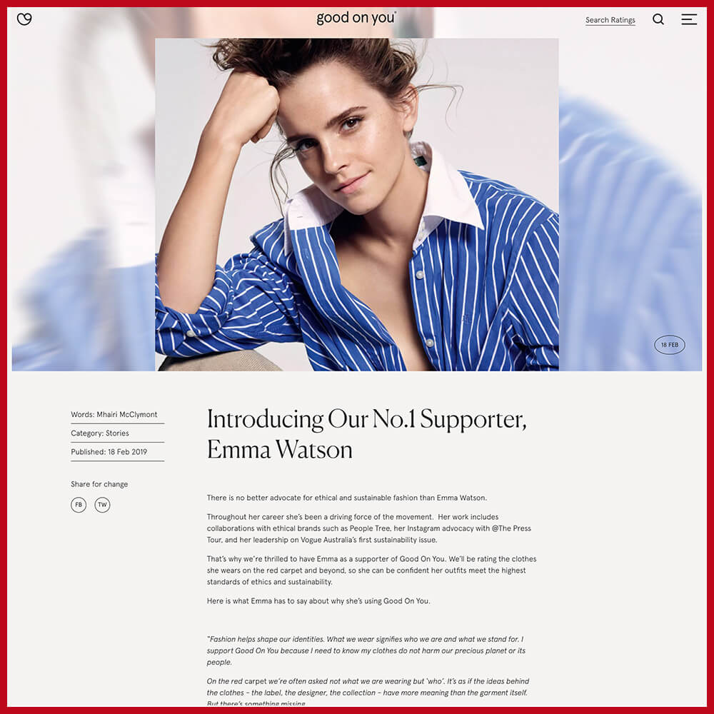 Emma Watson supporting Good On You sustainable and ethical fashion scoring app