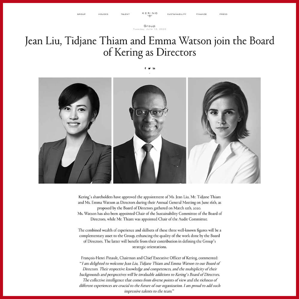 Emma Watson Joining Kering Group