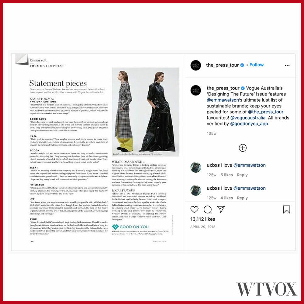 Emma Watson Instagram - The Press Tour