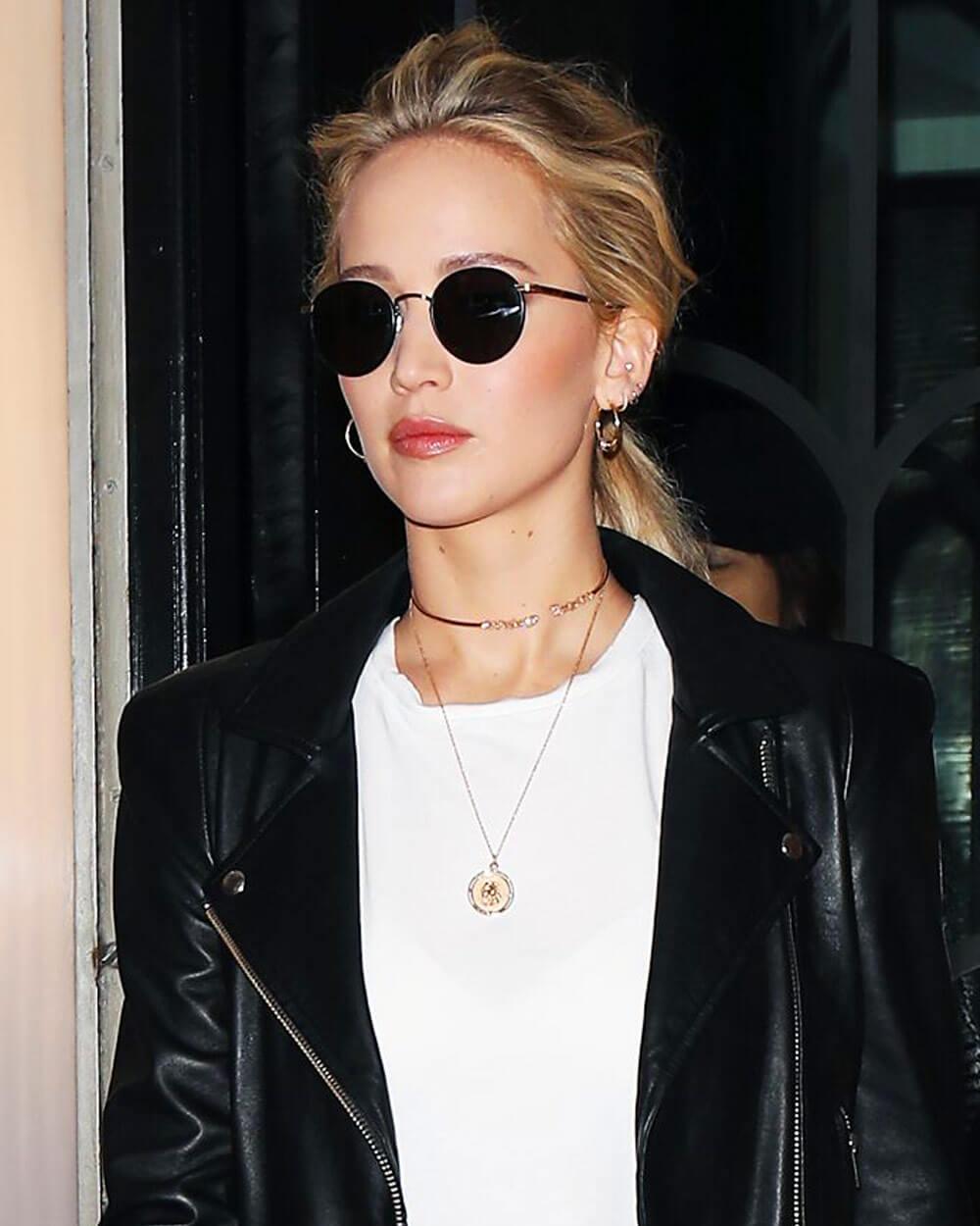 Jennifer Lawrence wearing round sunglasses