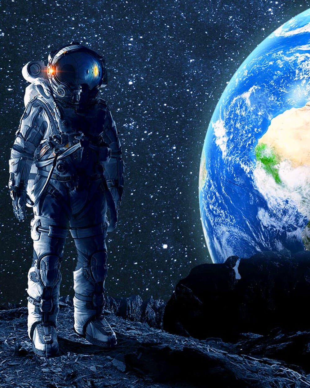 recreating smell of space - an astronaut standing on the moon with the earth's view
