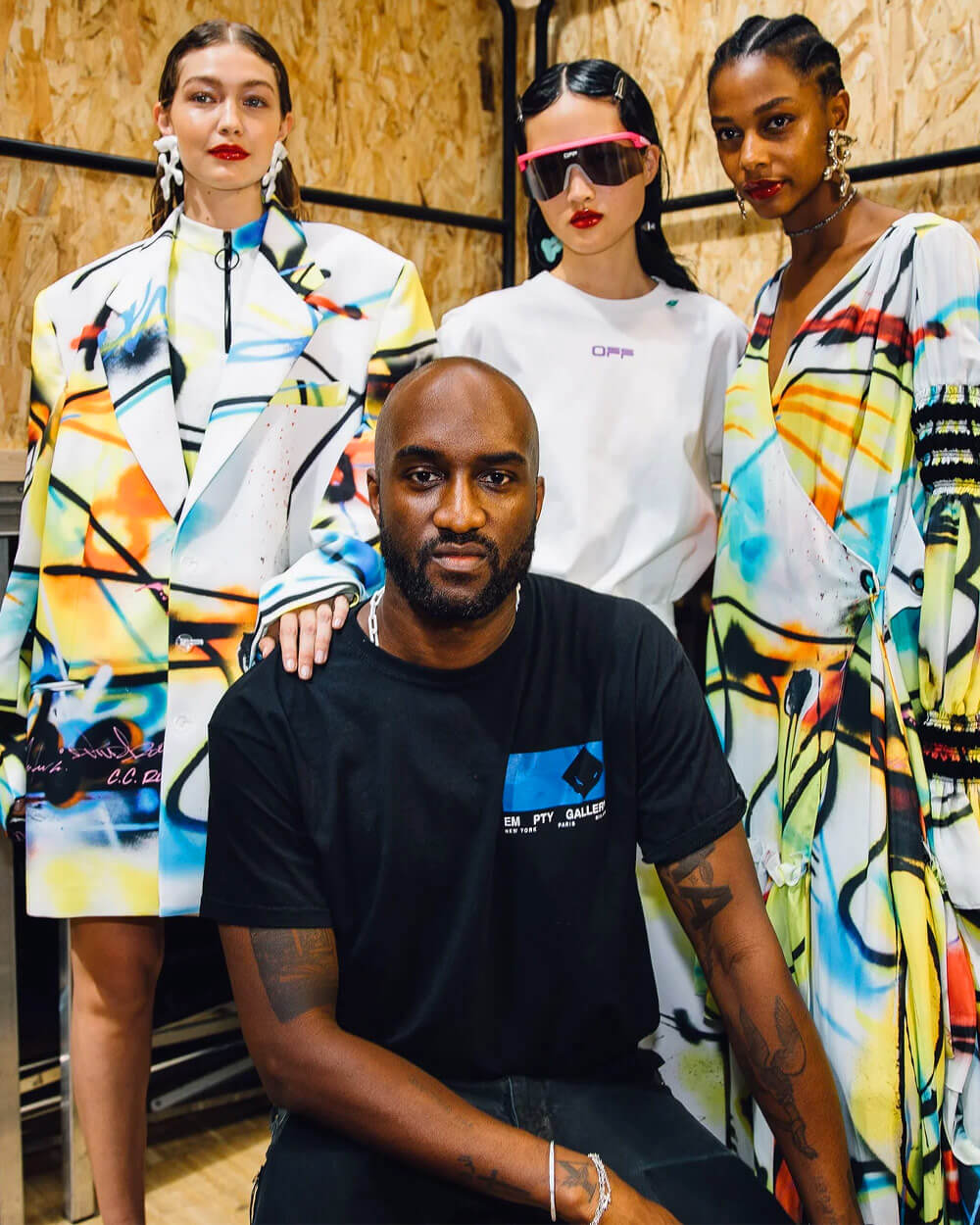 Off-white founder Virgil Abloh with Gigi Hadid