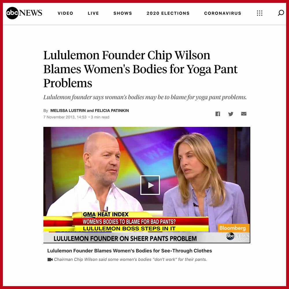 Lululemon Founder Chip Wilson Blames Women's Bodies for Yoga Pant Problems