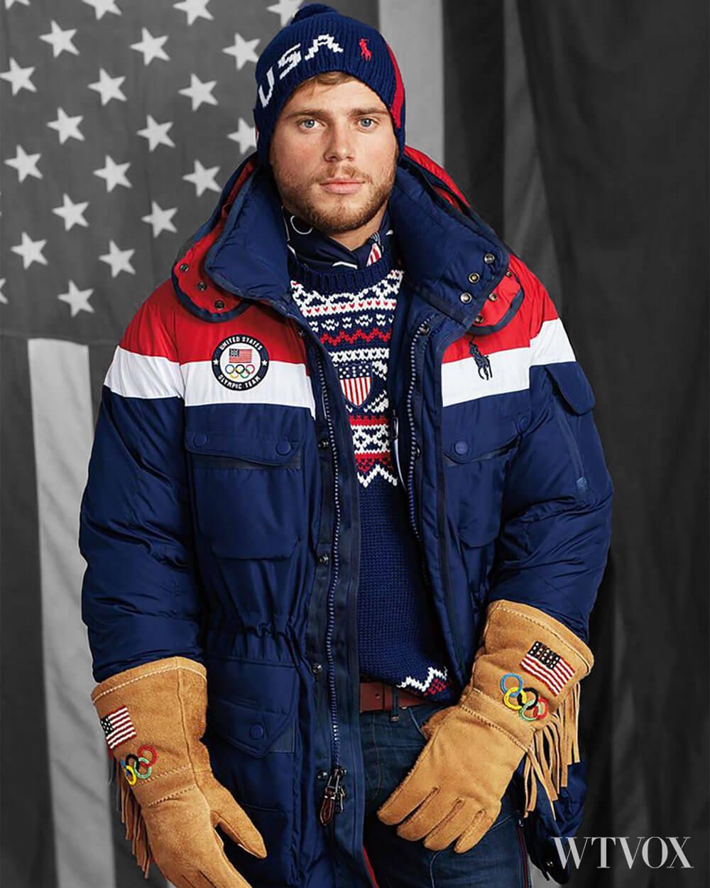 The 2018 winter Olympics Us team wearing Polo Ralph high tech heated jacket