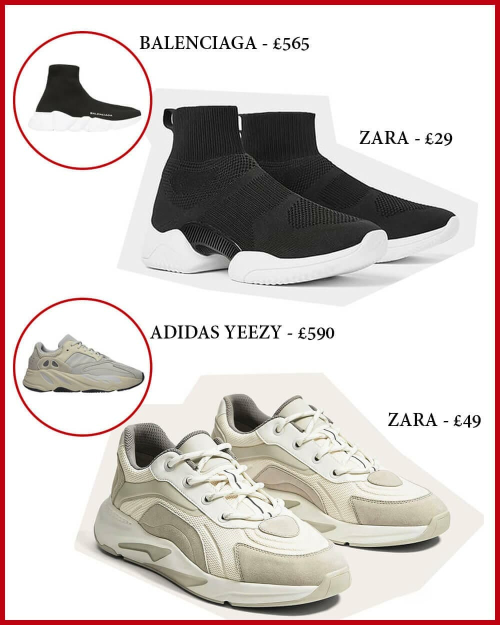Fast Fashion ZARA copying Balenciaga and Yeezy