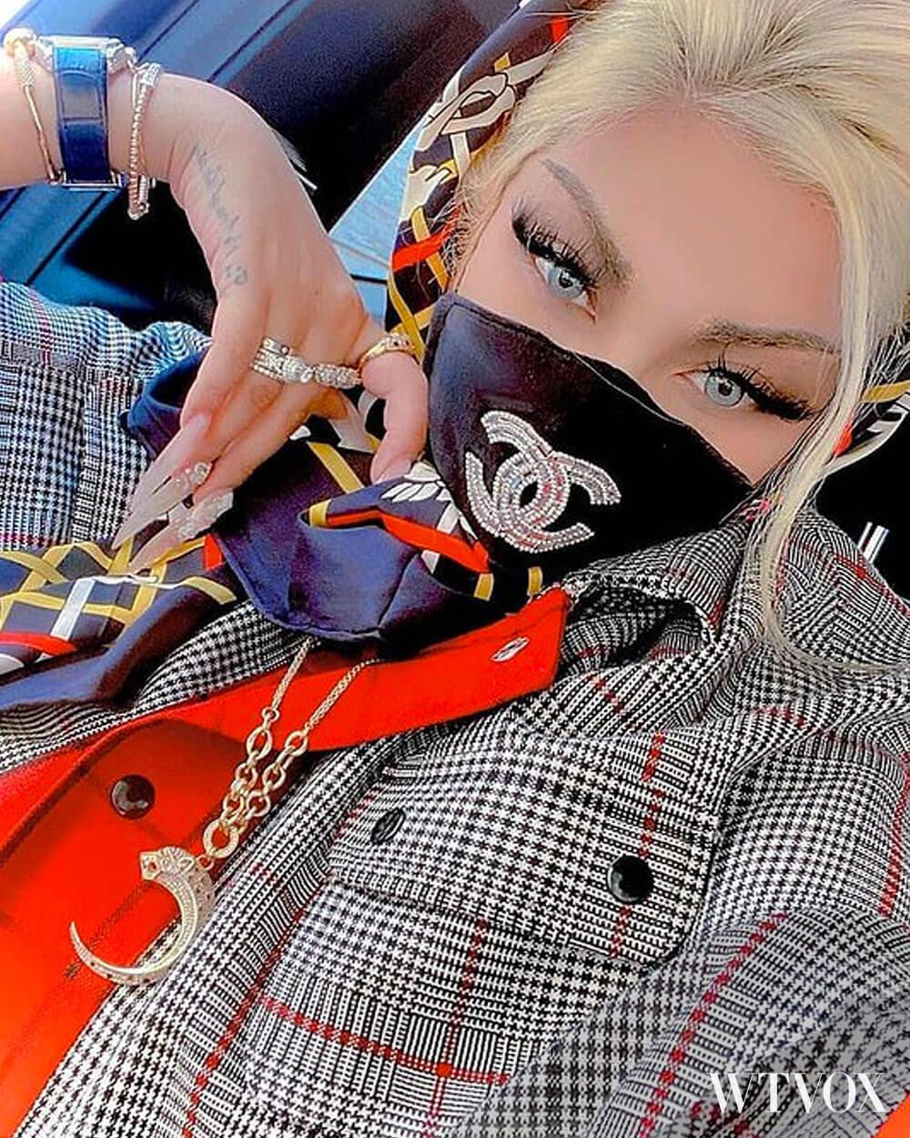 @negar.rokni wearing Chanel face mask
