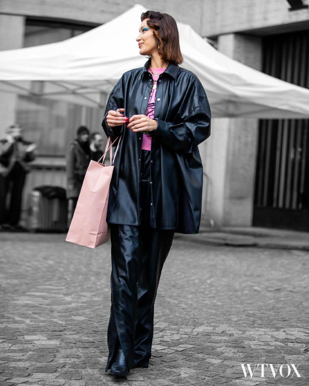 Bella Hadid wearing Rihanna's FENTY vegan leather outfit
