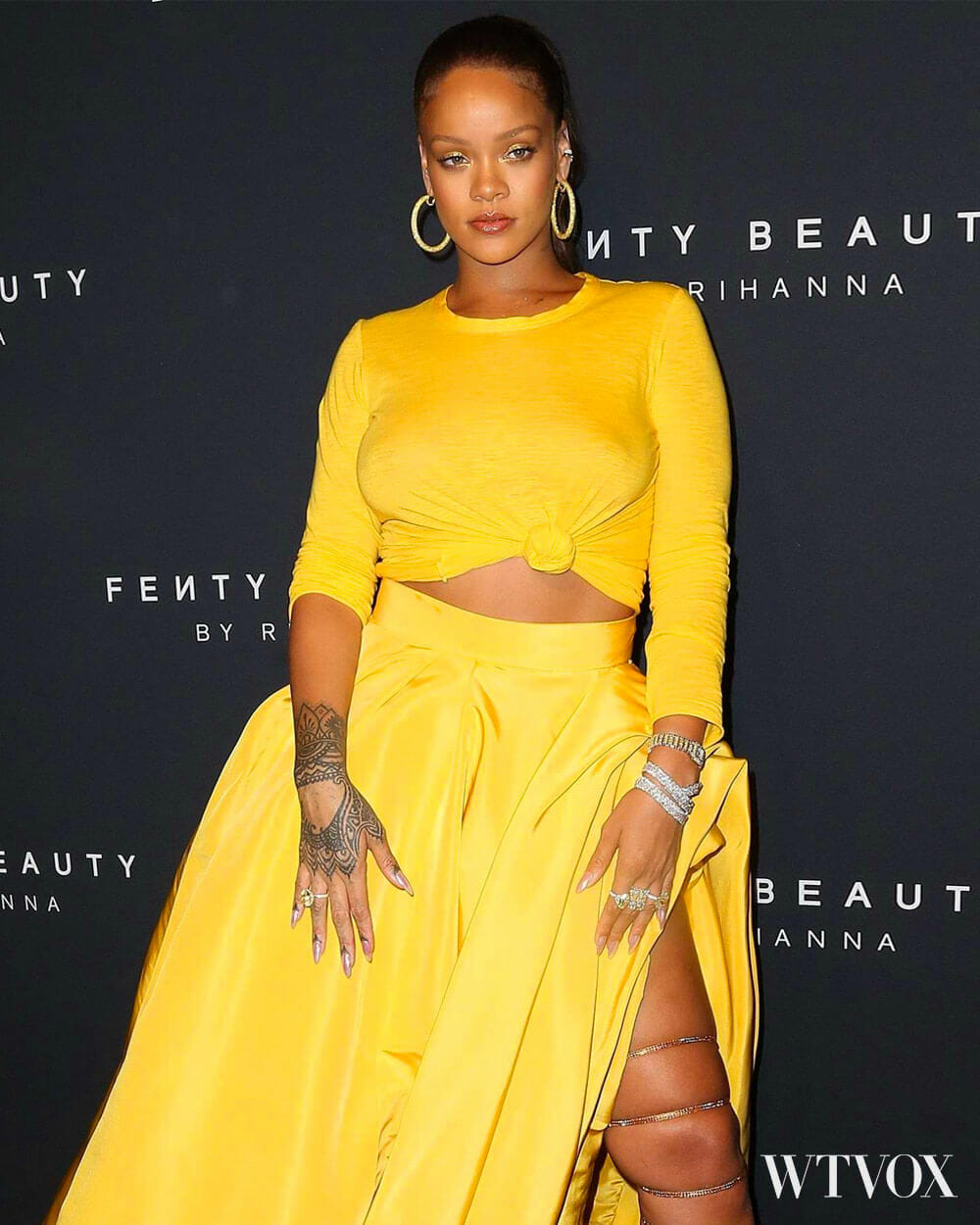 Rihanna in Fenty Beauty openning