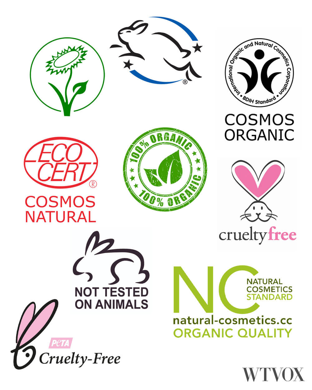 Sustainable, cruelty free, eco friendly, organic, vegan haircare and cosmetics certifications