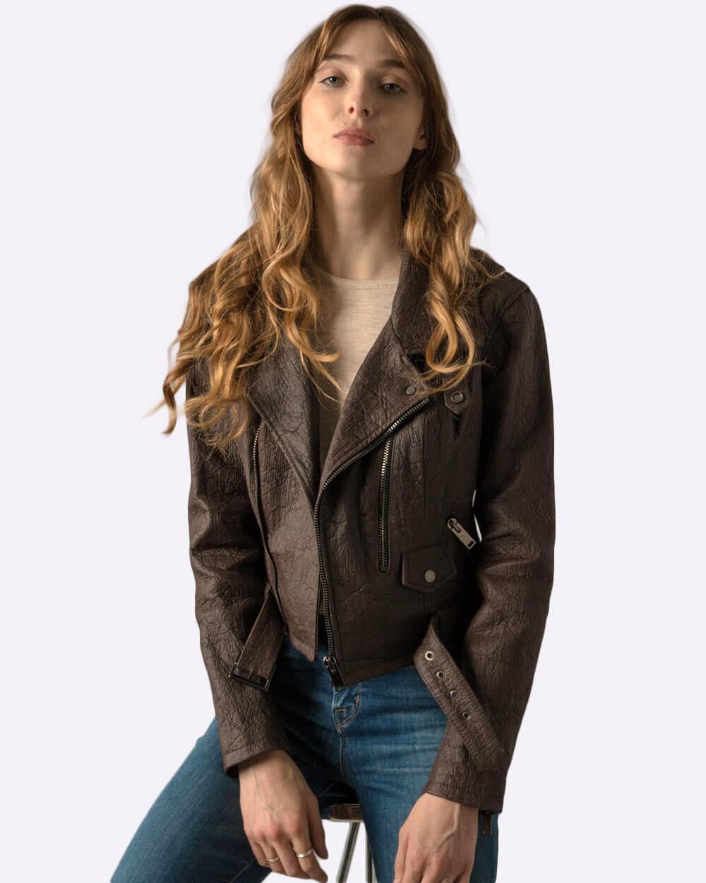 Altiir brown vegan leather biker jacket