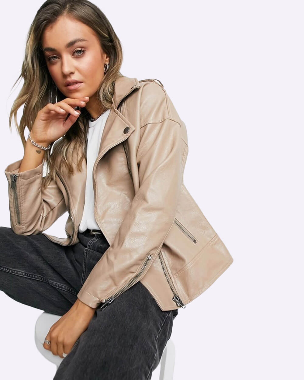 Vegan leather jacket by Cotton faux leather jacket in Asos