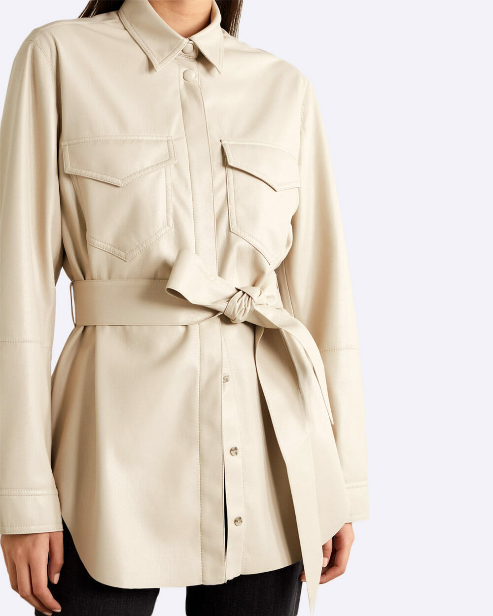 Nanushka vegan leather belted shirt jacket