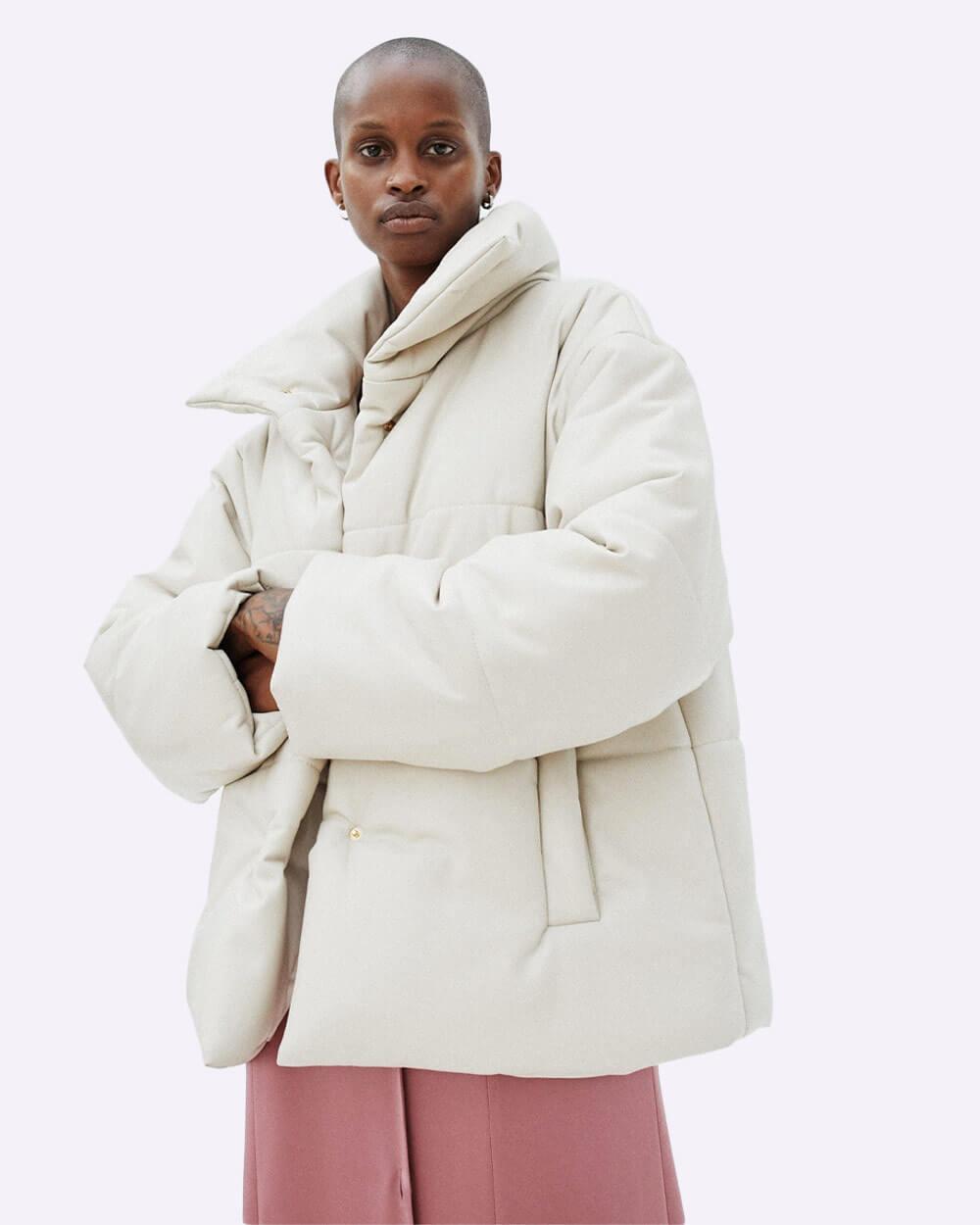 Nanushka Hide Puffer vegan leather jacket in white