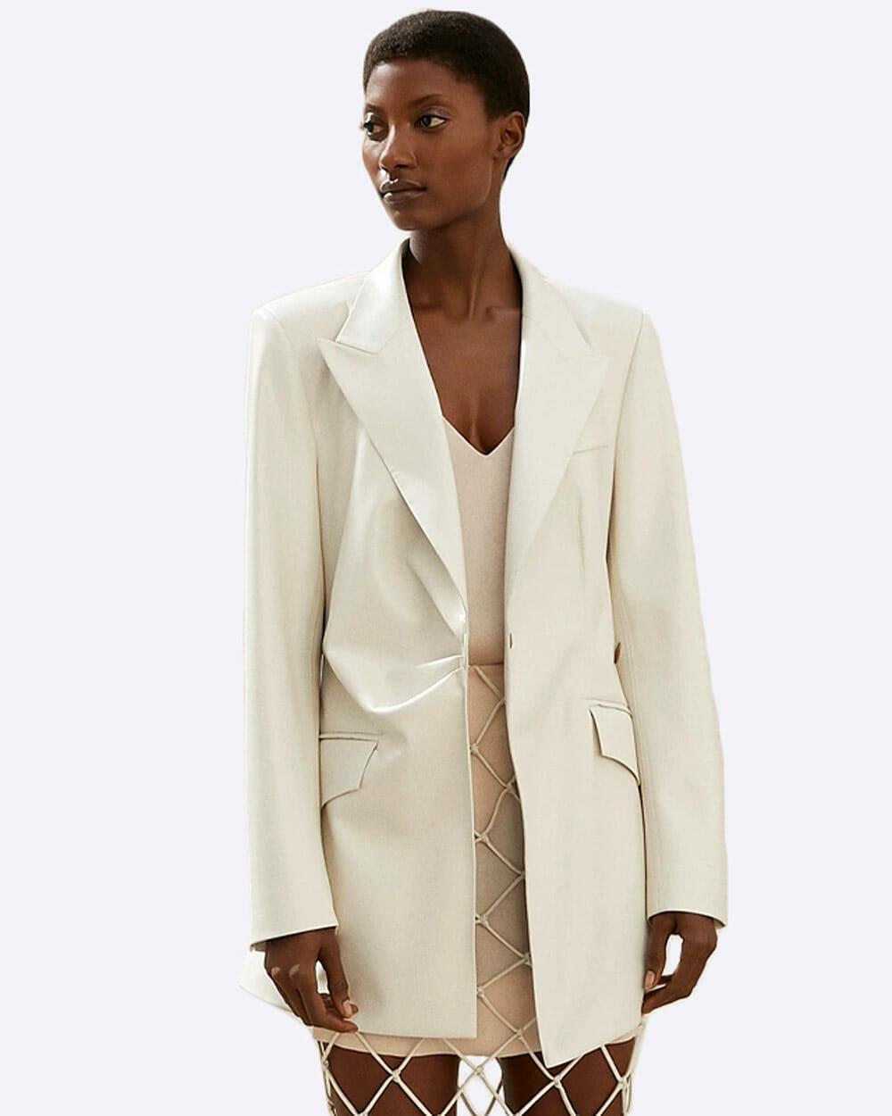 Nanushka vegan leather blazer in white