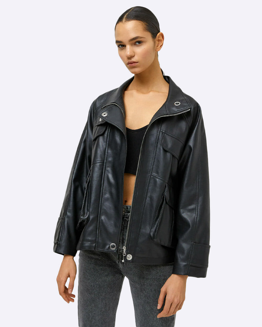 Pull and Bear faux leather biker jacket
