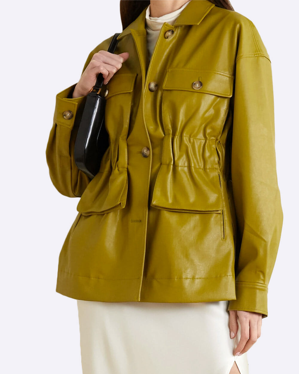 REJINA PYO army green pleated faux leather Jacket
