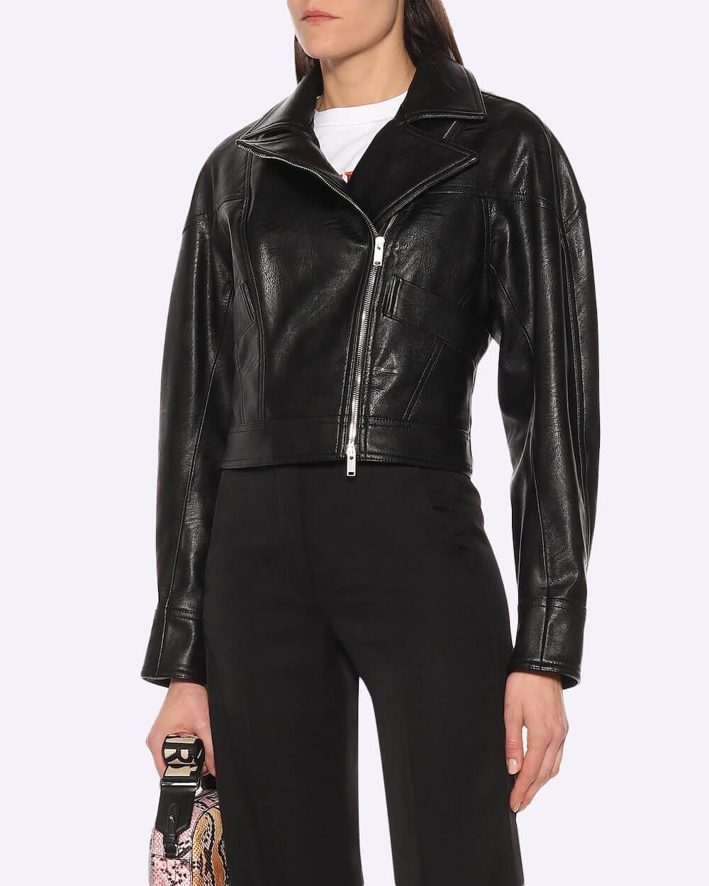 Stella McCartney vegan leather jacket with an asymmetric front zipper