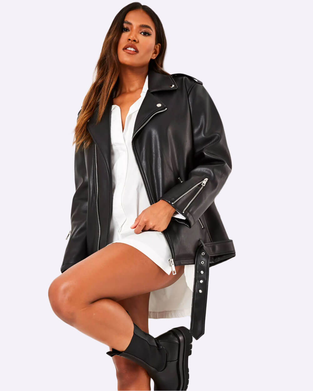 Misguided vegan leather biker jacket