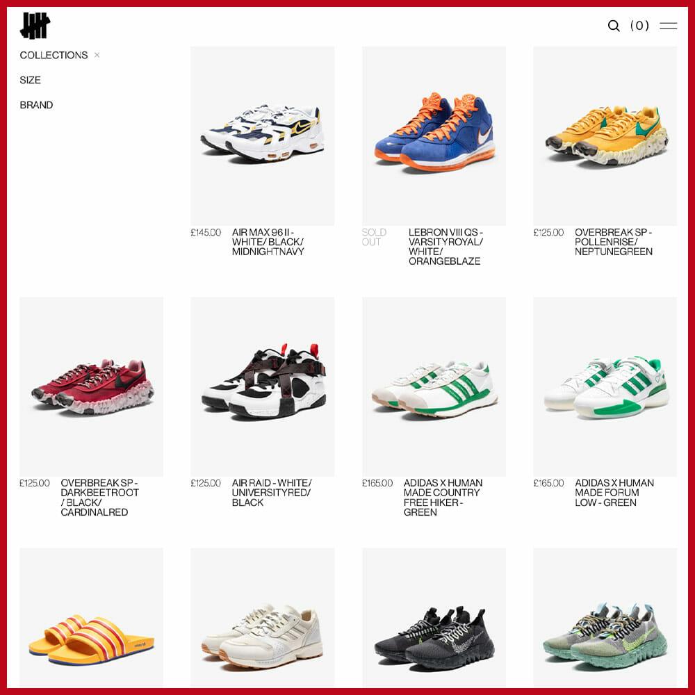 UNDEFEATED sneaker website