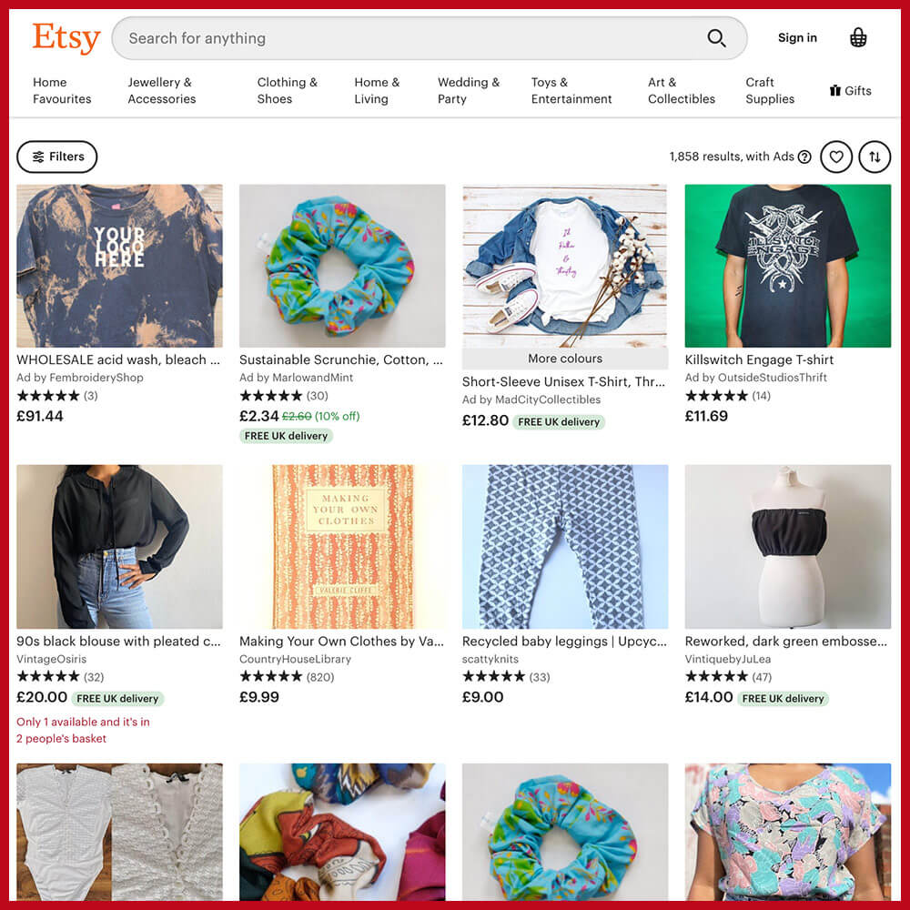 Etsy best online thrift store