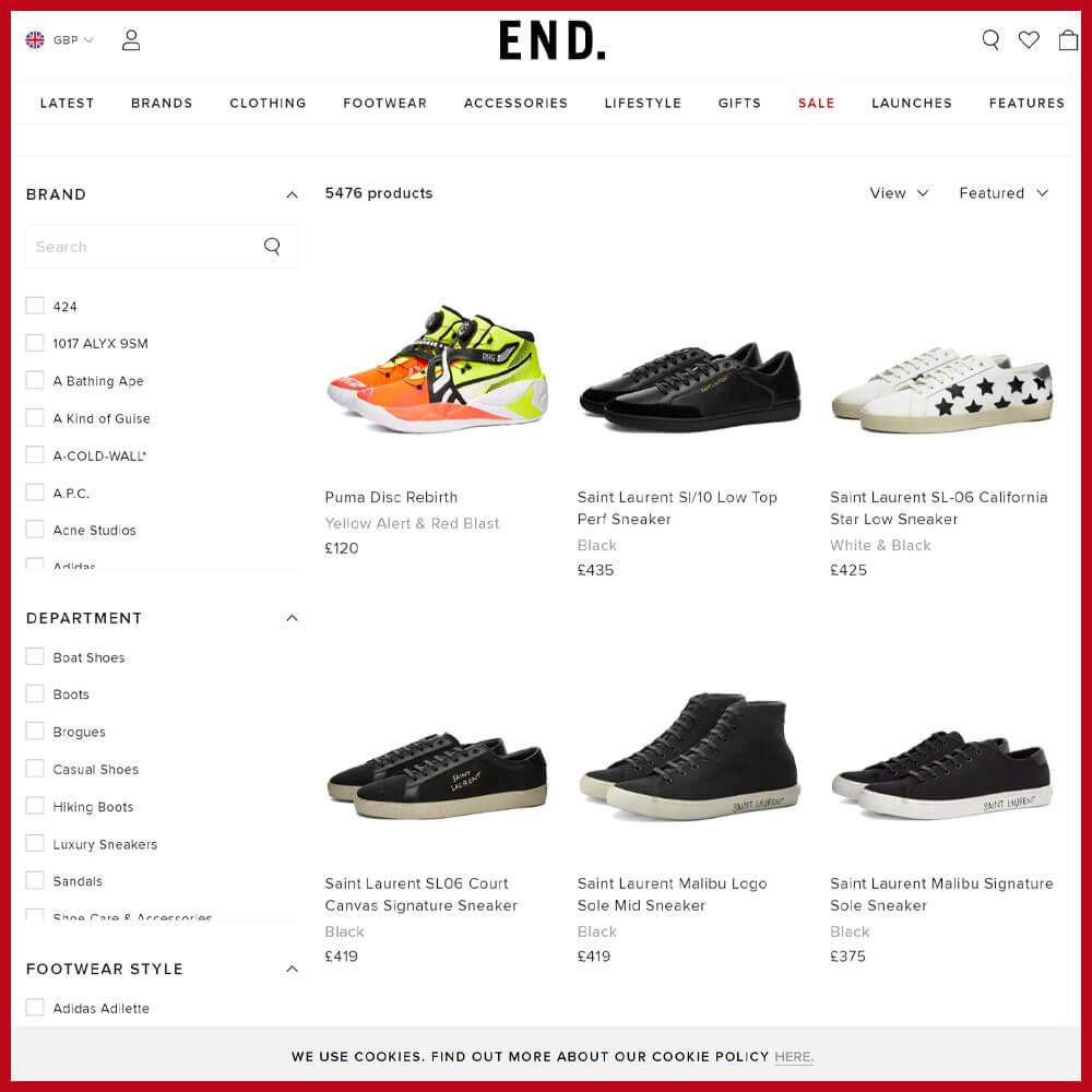 END. sneaker website
