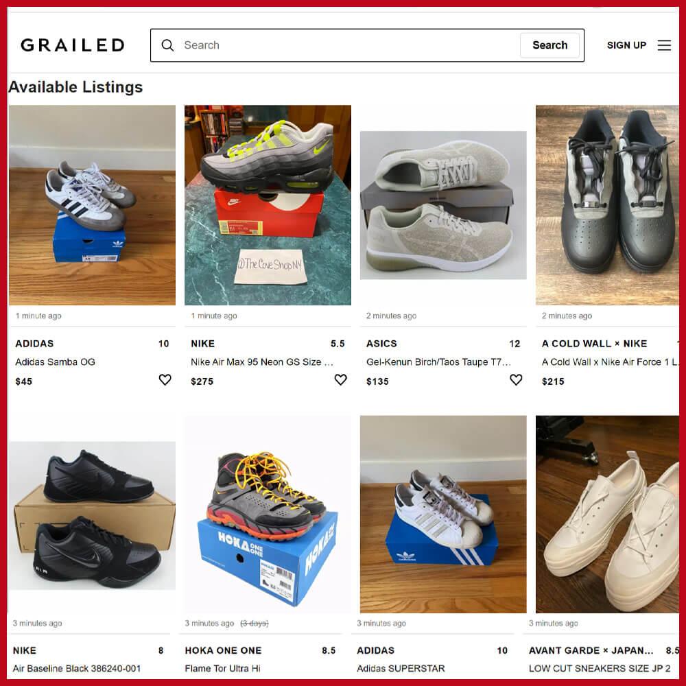 GRAILED sneaker online store