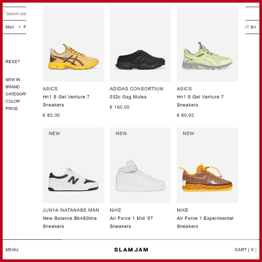 SLAM JAM sneaker website