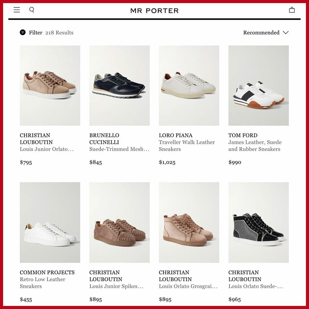 MR PORTER best sneaker websites