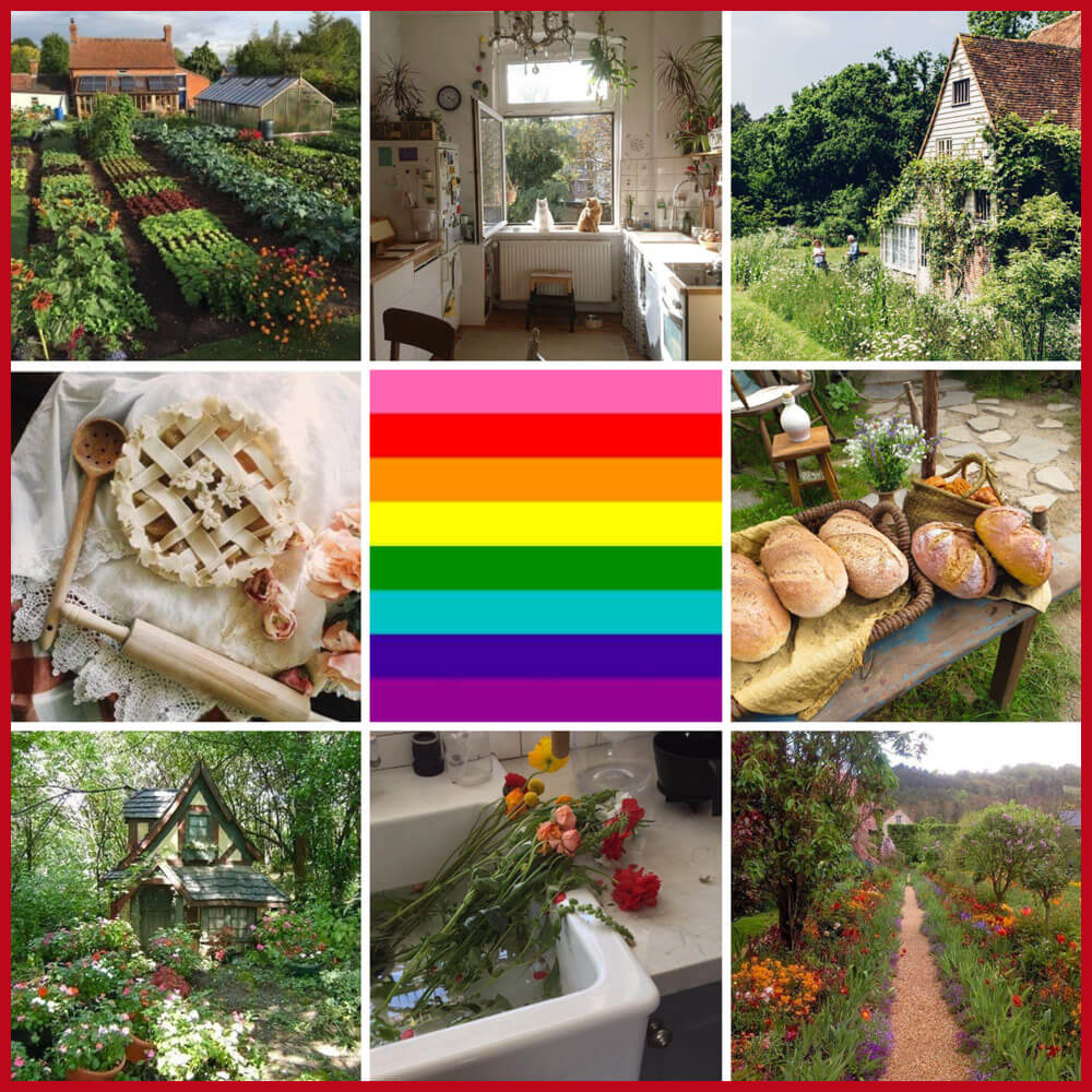 queer moodboards - cottagecore aesthetic