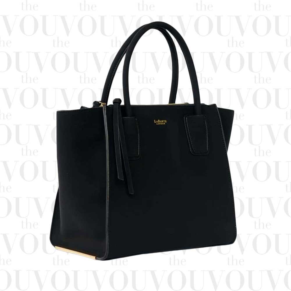 LABANTE LONDON Demi Black Vegan Winged Tote Bag