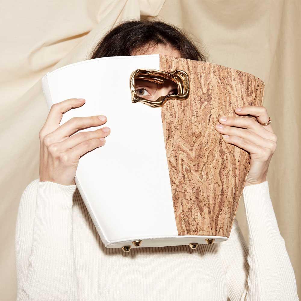 Mashu Cassiopeia Cork and White Vegan Leather Bag